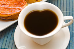 Coffee  and toast. Wonderful cup of hot coffee and toast Royalty Free Stock Photo