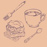 Coffee, toast and eggs with bacon. Vector illustration. royalty free illustration