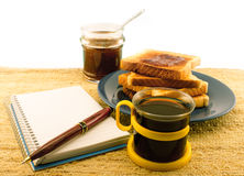 Coffee toast and marmalade Royalty Free Stock Image