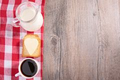 Coffee, toast and milk Stock Photo