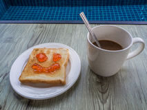 Coffee and Toast with strawberry jam Stock Photo