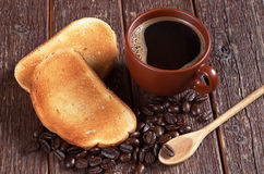 Coffee and toasted bread Royalty Free Stock Images