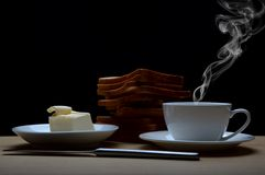 Coffee, toasts and butter Royalty Free Stock Photo