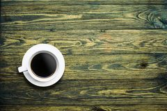 Coffee. Top view coffee cup on background wood royalty free stock photography