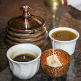 Coffee traditional arabic table appointments with rahat lokum.  Royalty Free Stock Photo