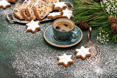 Coffee traditional Christmas cake Stohlen cookies Holidays food. Coffee, traditional Christmas cake Stohlen, cookies, pine tree branches. Holidays food Stock Image