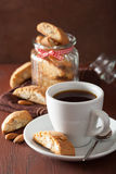 Coffee and traditional italian cantuccini cookies Royalty Free Stock Image