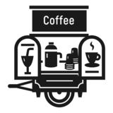 Coffee trailer icon, simple style. Coffee trailer icon. Simple illustration of coffee trailer vector icon for web design isolated on white background stock illustration