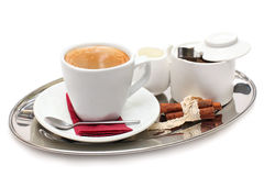 Coffee on tray Stock Photography
