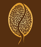 Coffee tree. Coffee bean. On brown background royalty free illustration