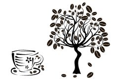 Coffee tree in a cup,  Royalty Free Stock Images