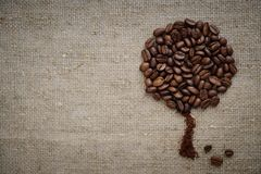 Coffee tree made of coffee beans on burlap rustic rough simple beautiful. stock photography