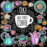 Coffee trendy vector set. Royalty Free Stock Images