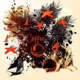 Coffee tropical background with starfishes, ships, spots and pal Royalty Free Stock Images