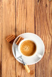 Coffee with Trowel and Small Bricks on the Sides Stock Photo