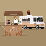 Coffee truck trailer with waitress serving standing in outdoor Stock Photo