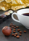 Coffee truffle with tea cup Royalty Free Stock Images