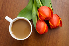 Coffee with tulips Royalty Free Stock Images