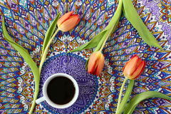 Coffee and tulips Stock Image