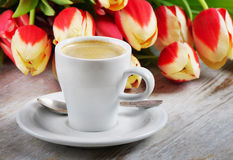Coffee and tulips Stock Photo