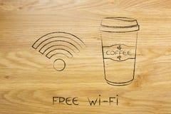 Coffee tumbler and free wi-fi symbol. Free wi-fi concept: coffee tumbler and connectivity symbol royalty free stock photography