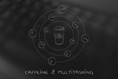 Coffee tumbler surrounded by spinning clocks Stock Photography