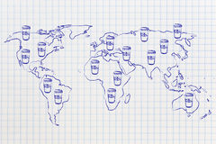 Coffee tumblers all over a world map Royalty Free Stock Images