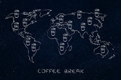 Coffee tumblers all over a world map Stock Photography