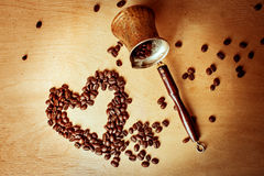 Coffee Turk and coffee beans Stock Image