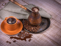 Coffee turk and cup of coffee Royalty Free Stock Photos