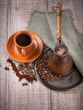 Coffee turk and cup of coffee Stock Images
