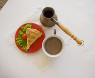 Coffee turk and morning pie horizontal Royalty Free Stock Image