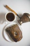 Coffee turk and poppy bun Royalty Free Stock Photo