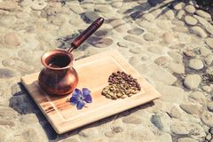 Coffee turka, flower, coffee seeds. stock photo