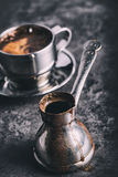 Coffee. Turkish coffee. Armenian Turkish coffee. Cezve and cup of coffee. Traditional serving coffee Royalty Free Stock Photos
