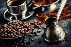 Coffee. Turkish coffee. Armenian Turkish coffee. Cezve and cup of coffee. Traditional serving coffee Stock Photos