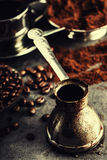 Coffee. Turkish coffee. Armenian Turkish coffee. Cezve and cup of coffee. Traditional serving coffee Royalty Free Stock Photography