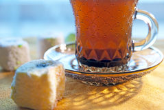 Coffee and Turkish delight rahat lokum Stock Image