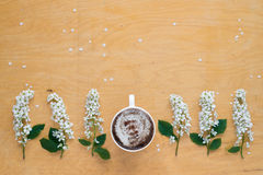 Coffee and twigs of blooming bird cherry Stock Image