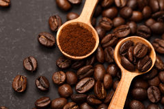 Coffee in two conditions: ground and beans Royalty Free Stock Photo