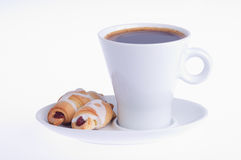 Coffee with two croissants on a saucer Stock Images