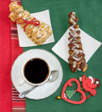 Coffee, two croissants and vintage Christmas decoration. Royalty Free Stock Photo