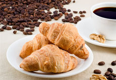 Coffee. Two cups of coffee with croissants and elements walnuts Stock Photography