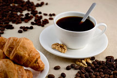 Coffee. Two cups of coffee with croissants and elements walnuts Royalty Free Stock Photos