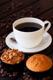 Coffee with two muffin on table close up Royalty Free Stock Photography
