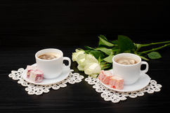 Coffee for two with oriental sweets Royalty Free Stock Photo