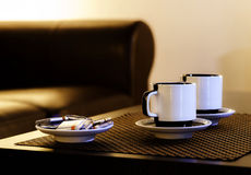 Coffee for two persons on the table Royalty Free Stock Image