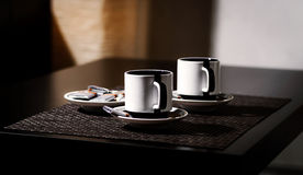 Coffee for two persons on the table Royalty Free Stock Images