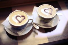 Romantic date for a cup of coffee Valentine`s Day royalty free stock photos
