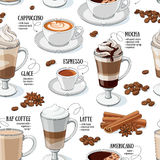 Coffee types seamless pattern. Different types of coffee. Coffee menu. Vector seamless pattern stock illustration